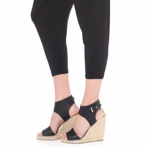 Joie Palos Wedge Shoes Black Leather 38.5